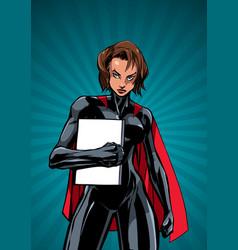 Superheroine holding book ray light vertical vector