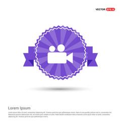 video camera icon - purple ribbon banner vector image