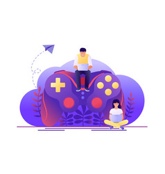 Video game playing online large gamepad with vector