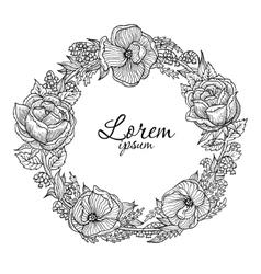 vintage flowers vignette vector image