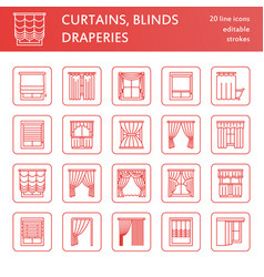 window curtains shades line icons various room vector image