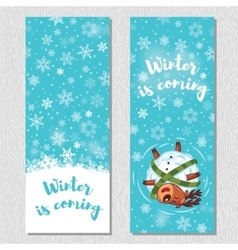 Winter banner design vertical background set with vector image