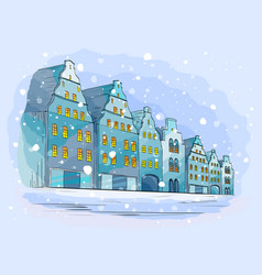 winter city background with houses vector image