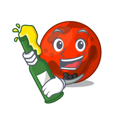 With beer mars planet mascot cartoon vector