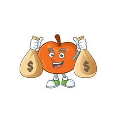 With money bag fresh tangerine juicy in cartoon vector