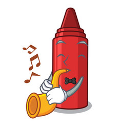 With trumpet red crayon in a cartoon bag vector