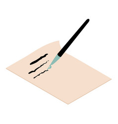 write brush icon isometric 3d style vector image