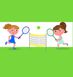 young cartoon woman playing tennis vector image vector image