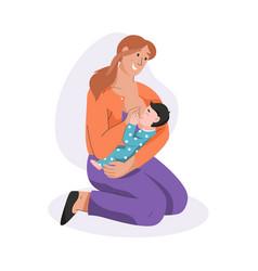 Young mother breastfeeding her newborn baby vector