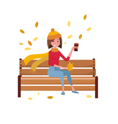 Young woman character sitting alone on bench in vector
