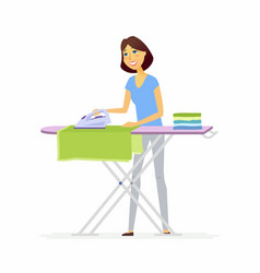 Young woman ironing clothes - cartoon people vector