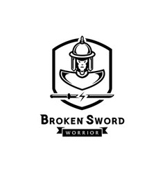 broken sword warrior logo with ancient soldier vector image