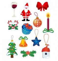 Christmas icons and symbols vector image