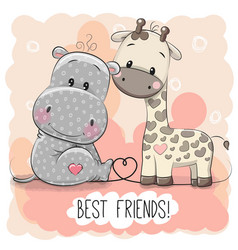 cute cartoon hippol and giraffe vector image