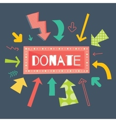 Donate red button with colorful arrows pointing on vector image vector image