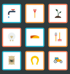 flat icons faucet field rake and other vector image vector image