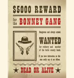 guns and hat on wanted sign or wild west banner vector image vector image