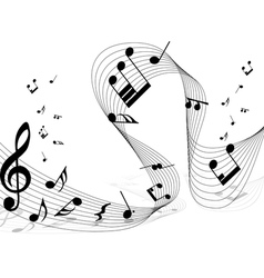 musical notes staff background for design use vector image vector image