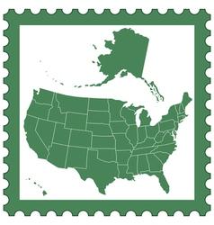 Usa map on stamp vector