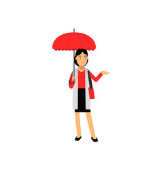 young woman standing under red umbrella vector image vector image