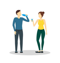 cartoon drinking water man and woman vector image vector image