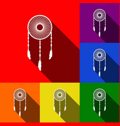 dream catcher sign set of icons with flat vector image vector image