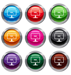 print word on a computer monitor set 9 collection vector image vector image