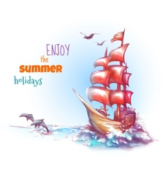 Sail ship with label vector