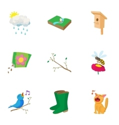 Springtime icons set cartoon style vector image vector image