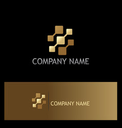 square digital technology gold logo vector image