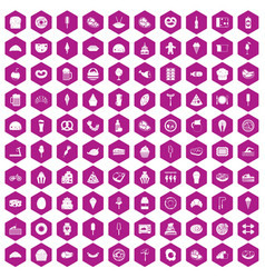 100 calories icons hexagon violet vector