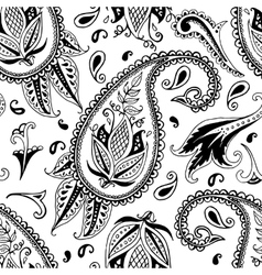 Hand drawn paisley seamless pattern vector image