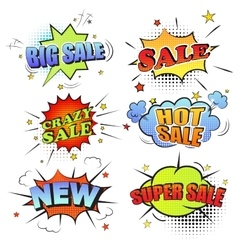 Set of pop art comic sale discount promotion vector image