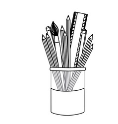 silhuette coloured pencils in jar icon vector image vector image
