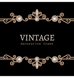 Vintage gold jewelry frame vector image