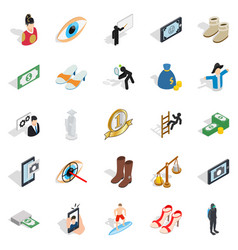 body icons set isometric style vector image vector image