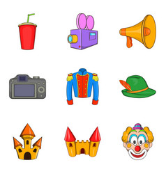 Live action icons set cartoon style vector