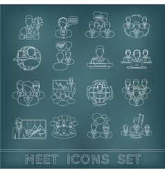 Meeting outline icons set vector image