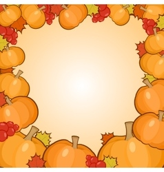 Pumpkins frame background autumn border vector