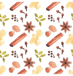 Seamless watercolor pattern with cinamon ginger vector image vector image