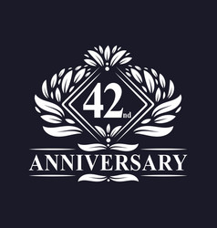 42 years anniversary logo luxury floral 42nd vector