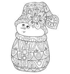 Adult coloring bookpage a cute snowman wearing vector