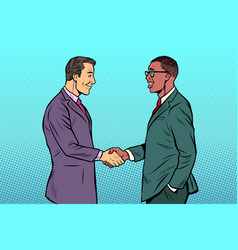 african and caucasian businessmen men handshake vector image