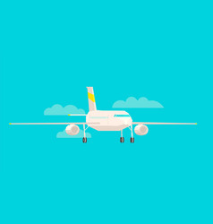 airplane front view on a blue background flat vector image