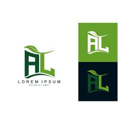 Al monogram leaf logo natural organic premium vector