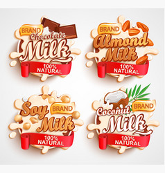 almond chocolate soy coconut milk labels vector image