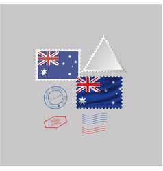 Australia flag postage stamp set isolated on gray vector