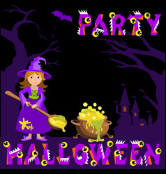 background with witch magic pot spoon and castle vector image