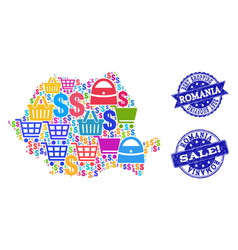 Best shopping collage of mosaic map of romania and vector
