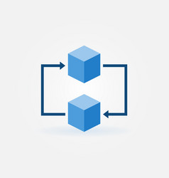 Blockchain concept icon two blue cubes vector